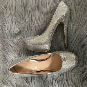 ALDO Silver glitter platform pumps Eu 37